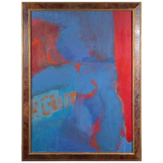 """1960s Vintage """"Red & Blue"""" Abstract Oil Painting on Canvas by Elsa Schachter For Sale"""