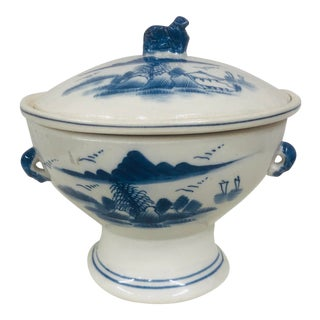 Blue and White Design Rice Bowl With Dog Finial For Sale