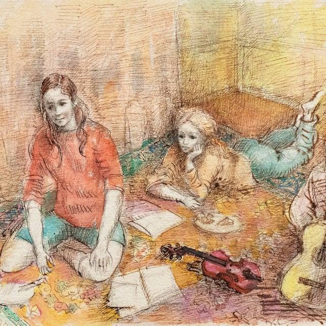 Inscribed verso 'AL.P. Moretti' for Lucien Philippe Moretti (French, 1922-2000), titled 'Jeudi à la Maison' (Thursday at...