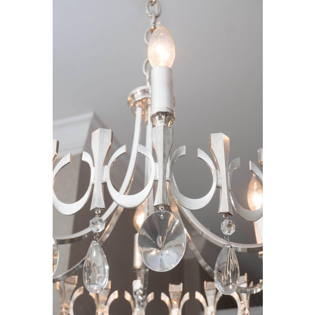 Silverplate Six-Light Chandelier Attributed to Sciolari For Sale In New York - Image 6 of 9