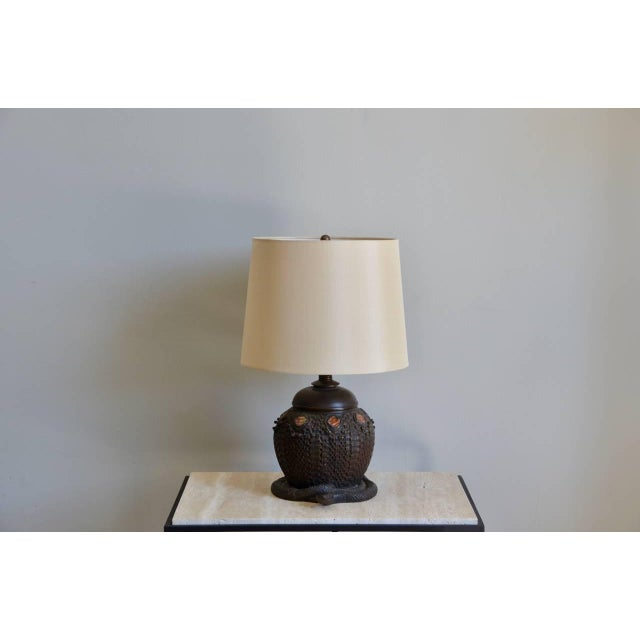 Arts & Crafts Heavy Tiffany Snake Basket Patinated Bronze Lamp With Custom Silk Shade For Sale - Image 3 of 12