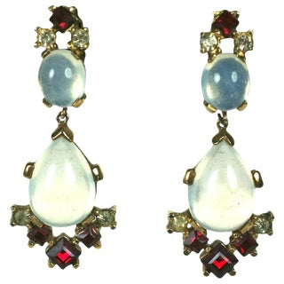 Trifari Alfred Philippe Clair De Lune Moonstone and Ruby Pendant Earclips For Sale