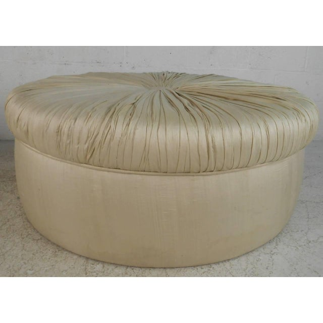 Mid-Century Modern Tufted Silk Ottomans- a Pair For Sale In New York - Image 6 of 9