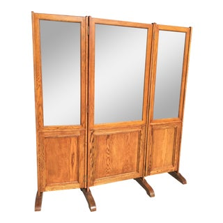 Oak Trifold Mirror Dressing Mirror For Sale