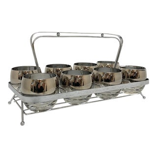 Mid Century Modern Set of 8 Silvered Hombre Roly Poly's and Carrier For Sale