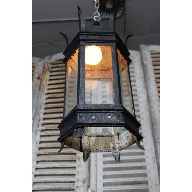 French Iron and Glass Lantern For Sale - Image 4 of 7