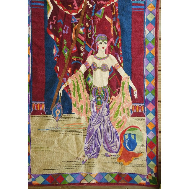 Vintage embroidered tapestry of an exotic dancer in the Art Deco style. Very nicely done and with much detail. Unsigned,...