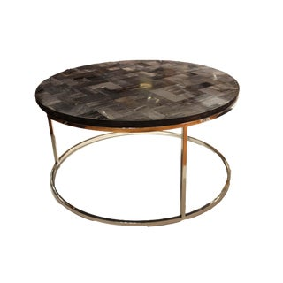 Mosaic Petrified Wood & Stainless Coffee Table For Sale