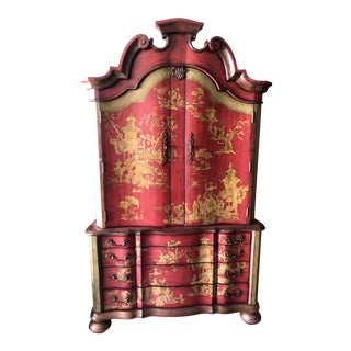 Chinese Thomasville Red Painted Armoire/Linen Press For Sale
