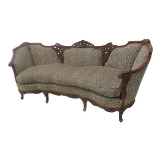 Walnut French Floral Carved Sofa For Sale