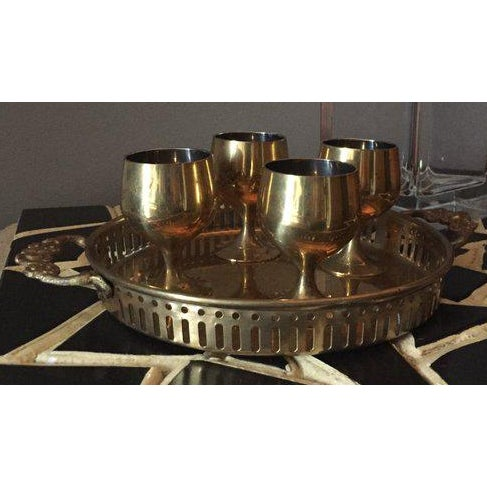 Mid 20th Century Vintage Hollywood Regency Solid Brass Cordial Set For Sale - Image 5 of 5