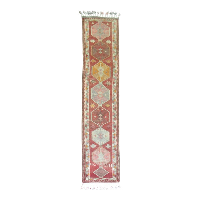 Vintage Anatolian Geometric Runner - 2'9'' x 14' For Sale