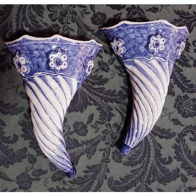 Blue & White Spiral Liverpool Delftware Wall Pockets, circa 1750. - Image 2 of 3
