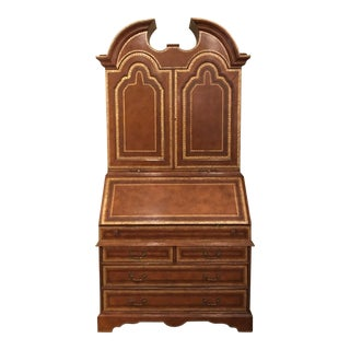 Maitland Smith Traditional Tooled Leather Secretary Desk For Sale