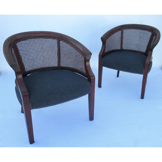 Vintage; C.1968-70s, St. Timothy Chair Company, barrel back mahogany and caned back side arm and/or lounge chairs with...