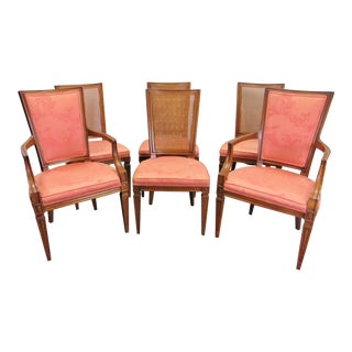 Louis XVI Style Cherry Chinoiserie Dining Chairs - Set of 6 For Sale