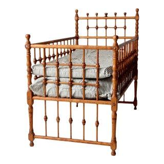 Antique Wooden Raised Children's Bed For Sale