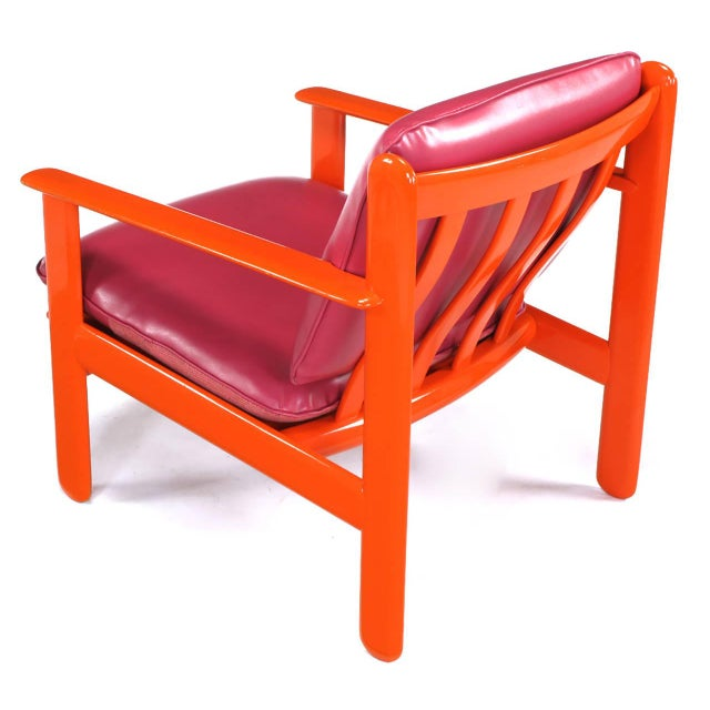 Fabric Pair of Italian Persimmon and Magenta Lounge Chairs For Sale - Image 7 of 10
