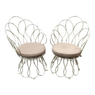 Metal Salterini Style Chairs- a Pair For Sale
