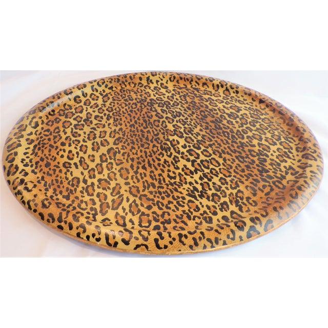 Goldenrod (Final Markdown Taken) Vintage 1980's Leopard Design Regency Tray For Sale - Image 8 of 9