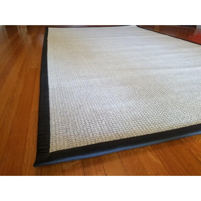 Contemporary Contemporary Wool & Black Leather Rug - 5' x 8' For Sale - Image 3 of 5