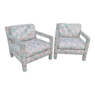 Pair of Milo Baughman Style Upholstered Parsons Chairs For Sale