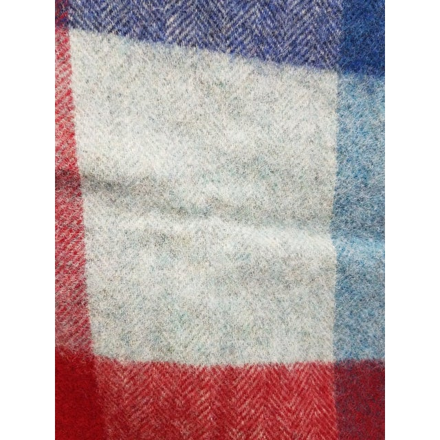 Blue Wool Throw Red Blue White Square Stripes - Made in England For Sale - Image 8 of 12