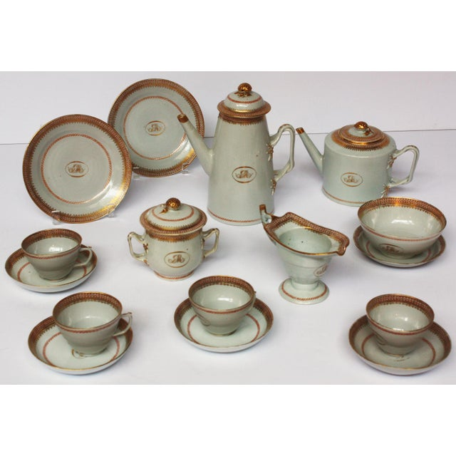 "Asian Chinese Export Coffee / Tea Set, Monogrammed ""GM"" For Sale - Image 3 of 5"
