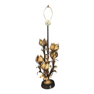 1960s Mid Century Hollywood Regency Gilt Metal Marble Base Floral Lamp For Sale
