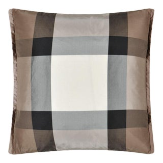"Kenneth Ludwig Chicago Varanasi Taupe 17"" Silk Pillow For Sale"