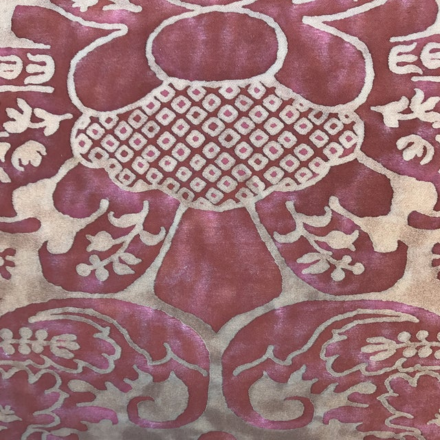 Burgundy & Gold Fortuny Pillows - A Pair - Image 3 of 5