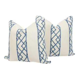 Blue & Ivory Palm Beach Linen Trellis Pillows, a Pair For Sale