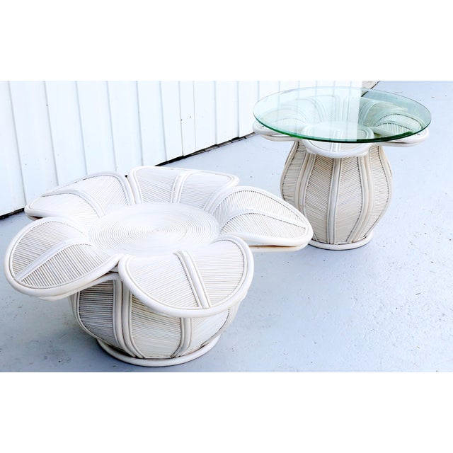 White 1970s Mid Century Modern Gabriella Crespi / Franco Albini Style Rattan Bell Flower Coffee Table For Sale - Image 8 of 11