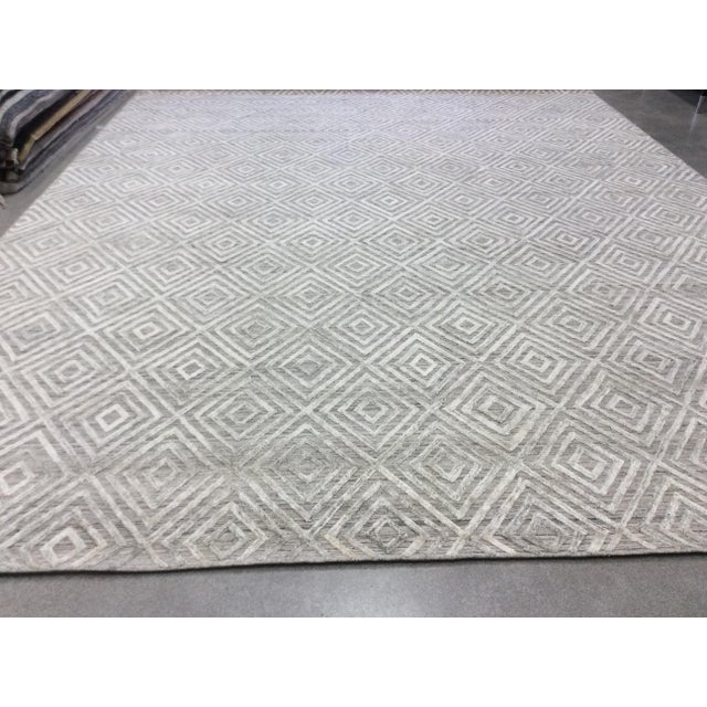 Contemporary Gray Diamond Pattern Wool Rug - 9' X 12' For Sale - Image 3 of 6