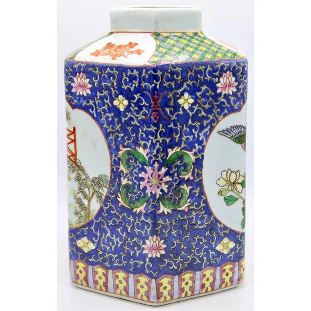 Blue Large Antique Chinese Enamel Ceramic Vase For Sale - Image 8 of 13