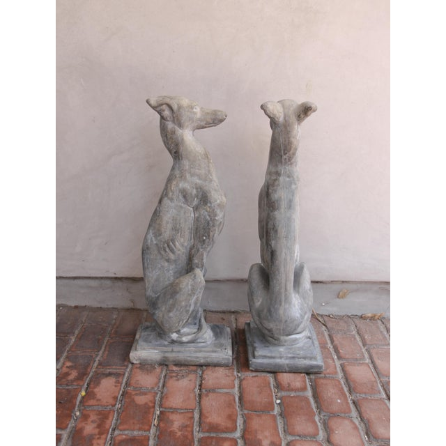 Vintage Concrete Weathered Patinated Greyhound Dog Sculptures - a Pair For Sale - Image 4 of 8