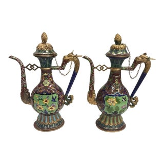 Chinese Cloisonné Ewers Pitchers Decanters - a Pair For Sale