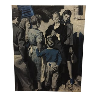 1940s Vintage Pruett Alexandre Boy With Blue Paint Brush Painting For Sale