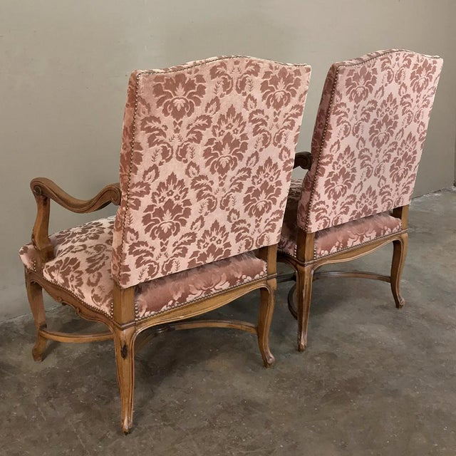 Pair Armchairs, 19th Century French Louis XV in Walnut For Sale - Image 12 of 13