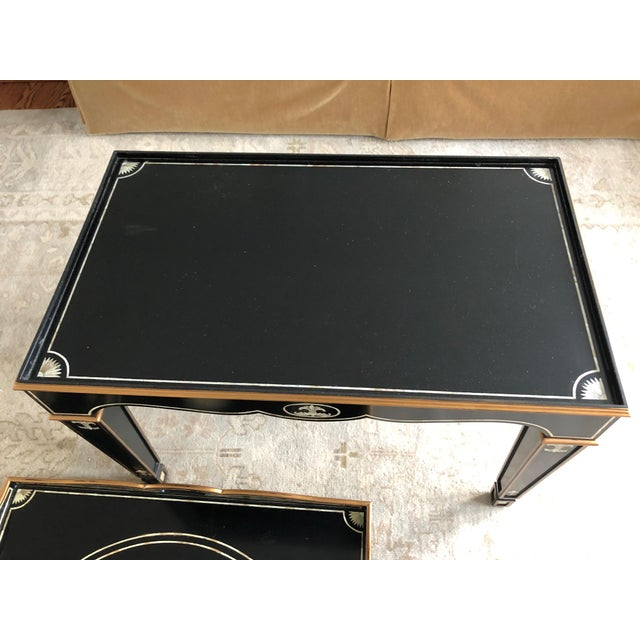 Wood Gem of a Hollywood Regency Black Tray Coffee Table For Sale - Image 7 of 13