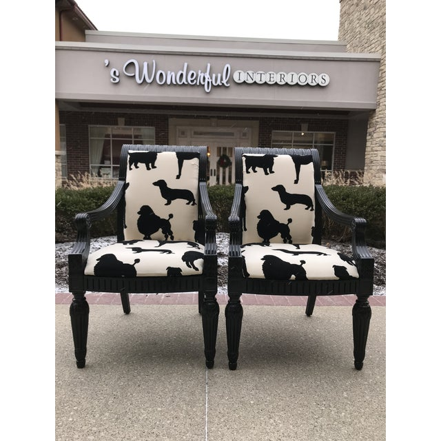 Boho Chic Designers Guild Best in Show Dog Velvet Host Arm Chairs - a Pair Black and White For Sale - Image 3 of 7