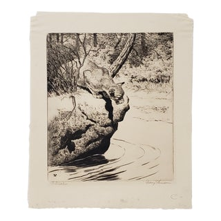 """Rodney Thomson (American, 1878-1941) """"The Watcher"""" Drypoint Etching Trial Proof C.1930 For Sale"""