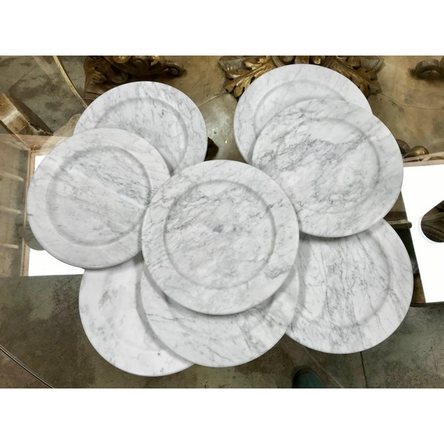 Set of 8 Carrara marble dinner plates or plate, Italy Every single item is unique and different from the other. Italian...