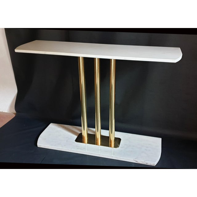 Large Mid-Century Modern White & Gray Carrara Marble & Brass Console Table, Italy For Sale - Image 12 of 13