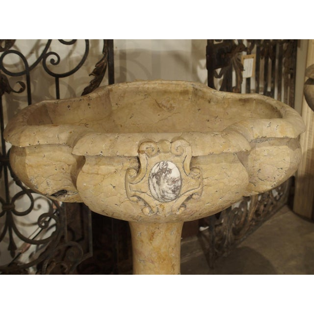 Rare Pair of Carved Italian Marble Stoups, Giallo Reale For Sale In Dallas - Image 6 of 11