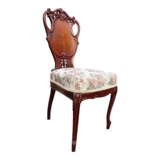 Late 19th Century Antique French Carved Mahogany Art Nouveau Side Chair For Sale