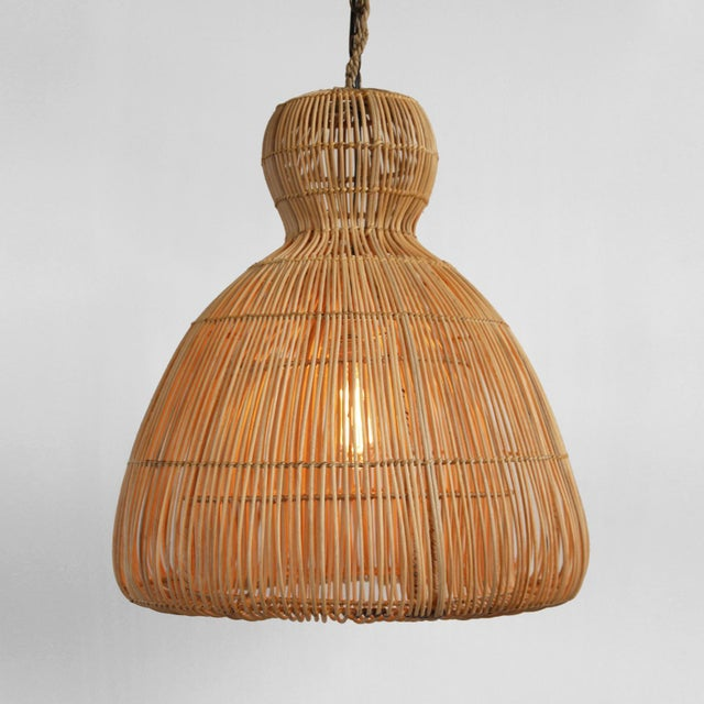 Hand crafted raw rattan mushroom lantern. Each handmade with natural finish so there will be slight variations for each in...