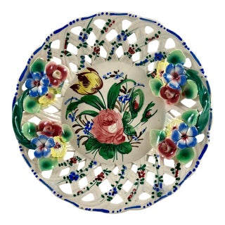 Italian Renaissance Revival Faïence Nove Rose Fretwork Appliqué Vide-Poche Catchall Dish For Sale
