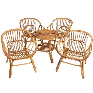 1960s Boho Chic Rattan Lounge Chairs and Table Set - 5 Pieces For Sale