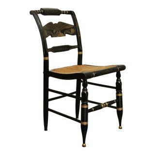 Ethan Allen Black and Gold Painted Rush Seat Hitchcock Chair For Sale